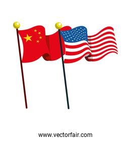 flags China and united states of america