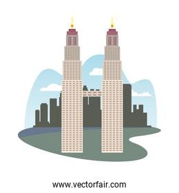 Petronas Towers architecture isolated icon