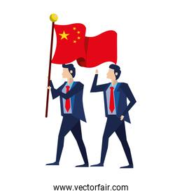 businessmen with flag China characters