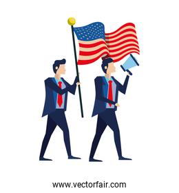 businessmen with united states american flag and megaphone