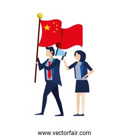 business couple with flag China and megaphone