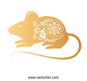 cute little mouse with floral pattern