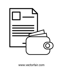 wallet money with paper document icon
