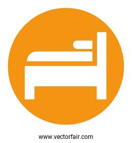 bed and pillow forniture isolated icon