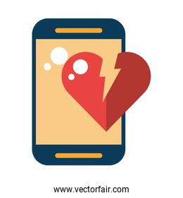 smartphone device with heart break