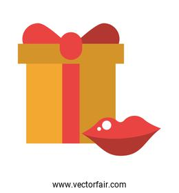 sexy female lips love with gifts