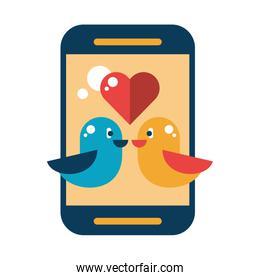 smartphone device with with love birds