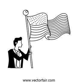businessman with united states american flag