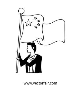 businessman with flag China character