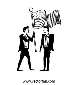 businessmen with united states american flag