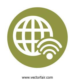 sphere browser globe with wifi signal