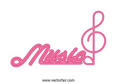 music note sound and lettering neon light label