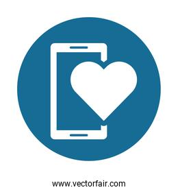 smartphone device with heart icon
