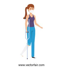 woman with crutch using face mask