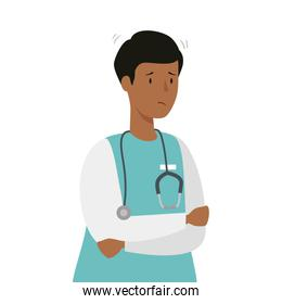 male afro paramedic with stethoscope isolated icon