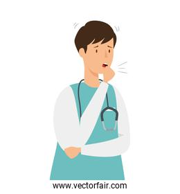male paramedic with cough isolated icon
