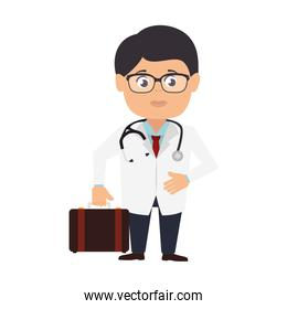 doctor male with stethoscope and suitcase