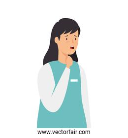 female paramedic with sore throat isolated icon