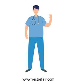 male paramedic with stethoscope isolated icon