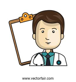 face of doctor male with clipboard isolated icon