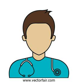 male paramedic with stethoscope avatar isolated icon