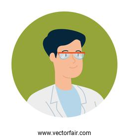 doctor male with eyeglasses in frame circular