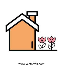 house facade with flowers icon