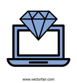 diamond luxury stone in laptop computer