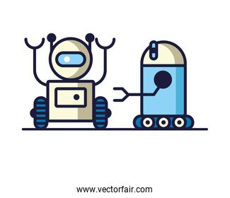couple of robots technology icons