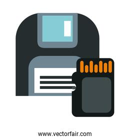 sd card and floppy storage data icons
