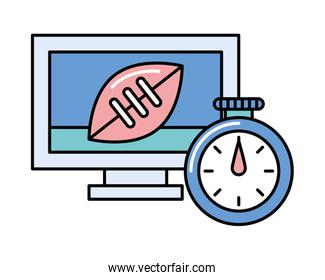 timer chronometer with american football in tv