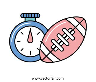 timer chronometer with american football balloon