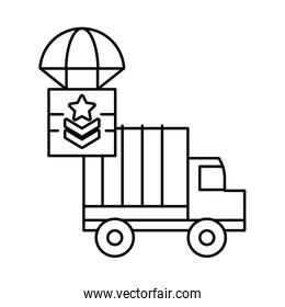 military force truck with box in parachute