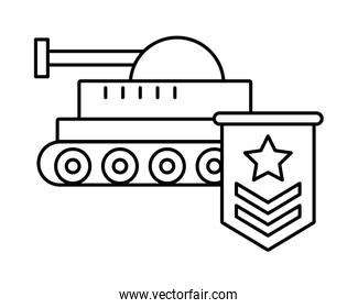 military force medal with tank