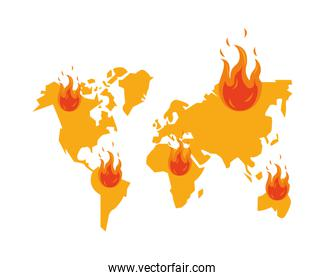 world planet earth maps with fire flame