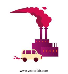 factory with polluting chimneys and car