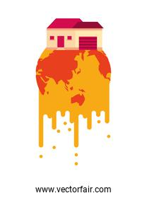 world planet melting global warming with house