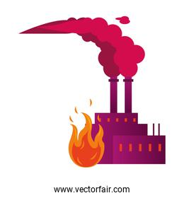 factory with polluting chimneys with fire flame