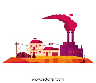 factory with polluting chimneys and houses