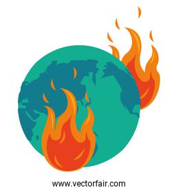 world planet earth with fire flame