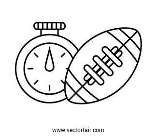 isolated timer chronometer with american football balloon