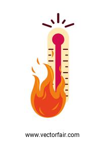 thermometer temperature measure with fire flame