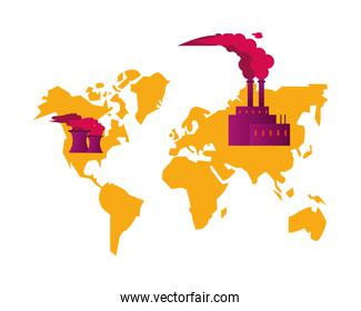 earth maps with factory and polluting chimneys scene