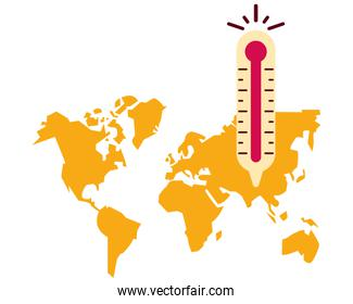 world planet earth maps with thermometer