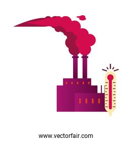 factory with polluting chimneys and thermometer