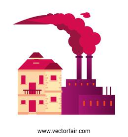 factory with polluting chimneys and house