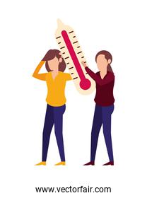 woman lifting thermometer temperature measure