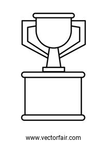 trophy cup in stand linear style