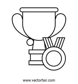 medal first place with trophy cup