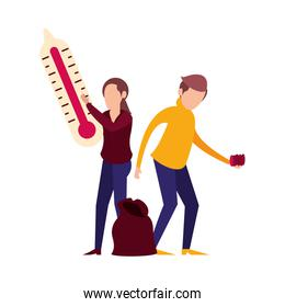 couple lifting thermometer and garbage plastic bag